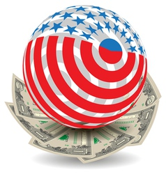 usa globe with cash vector image