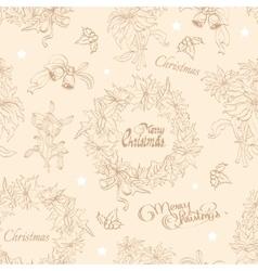 Vintage Beige Christmas Wreath Flowers vector image