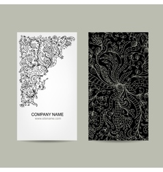 Vintage business cards floral design vector