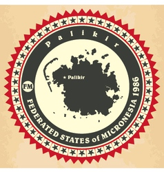 Vintage label-sticker cards of Federated States of vector image