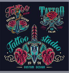 Vintage tattoo studio colorful emblems vector