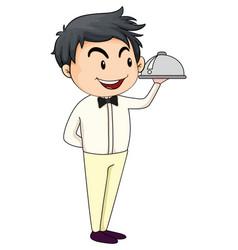 Waiter serving food cartoon character vector