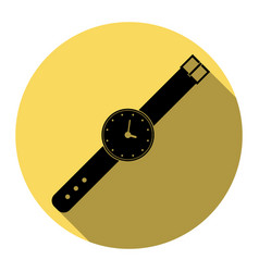 watch sign flat black icon vector image vector image