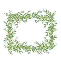 Watercolor olive wreath vector