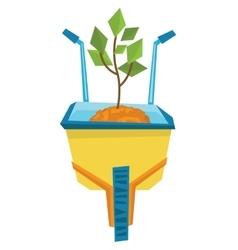 Wheelbarrow with sand and small tree vector image