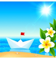 White paper boat near blooming tropical island vector