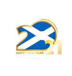 Year 2021 with scotland flag pattern happy new vector