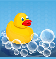 yellow duck foam soap concept background cartoon vector image
