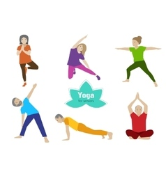 Yoga senior exercise Older people sport activity vector image