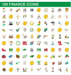 100 finance icons set cartoon style vector image
