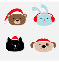 Animal head set Cartoon bear rabbit cat dog in vector image vector image