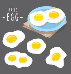 fried egg food cook meal breakfast cartoon vector image vector image