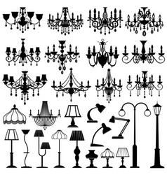 home and outdoor lightning lamps and chandeliers vector image vector image