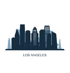 los angeles skyline monochrome silhouette vector image
