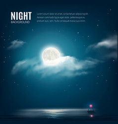 Night nature cloudy sky with stars moon and sea vector image