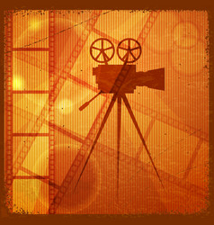 orange background with the silhouette of movie vector image vector image