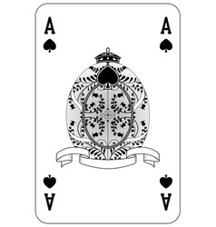 Poker playing card Ace spade vector image vector image