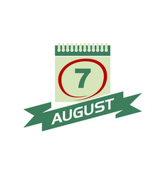 7 august calendar with ribbon vector