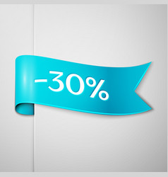 Cyan ribbon with text thirty percent for discount vector