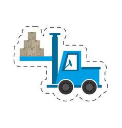 delivery truck forklift boxes vector image