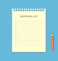 flat shopping list and pencil on blue background vector image