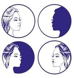 beautiful girl sketch collection logo vector image