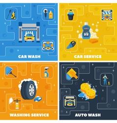 Car Wash 4 Flat Icons Square vector image