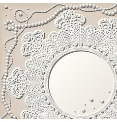 crochet doily with pearl necklace vector image vector image