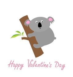 Happy Valentines Day Love card Cute koala Baby vector image vector image