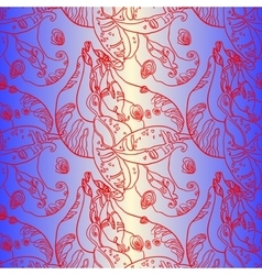 Purple Floral Swirls Bean Seamless Pattern vector image