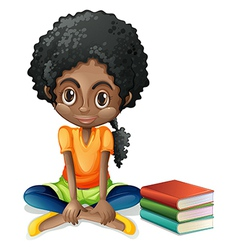 A young Black girl sitting beside her books vector image vector image