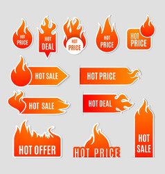 Fire Sale Flat Icon Set vector image vector image