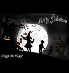 Halloween background on the full moon vector