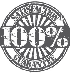Satisifaction guarantee 100 percent grunge stamp vector image vector image