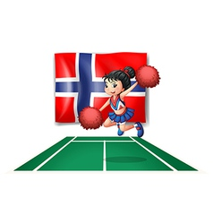 The flag of norway with a cheerdancer vector