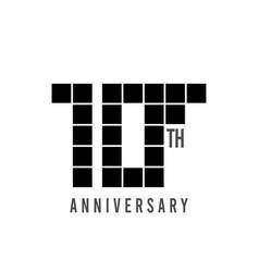 10 th anniversary pixel model template design vector
