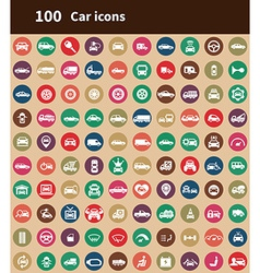 100 car icons vector image