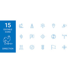15 direction icons vector