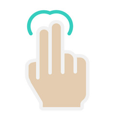2 finger tap flat icon touch and hand gestures vector