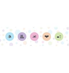 5 swim icons vector