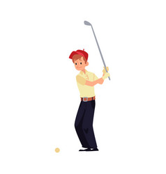 a man golfer stands in a red cap and hits with a vector image