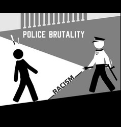 aggressive policeman walking towards black man vector image