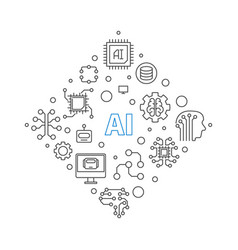 Ai or artificial intelligence concept line vector
