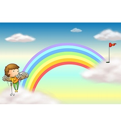 An angel playing golf near the rainbow vector image