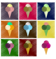 assembly flat shading style icons ice cream balls vector image