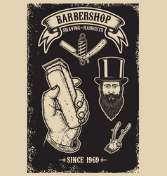 Barber shop vintage poster template design vector