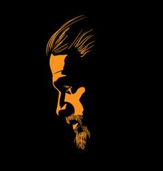 Bearded man portrait silhouette in contrast vector