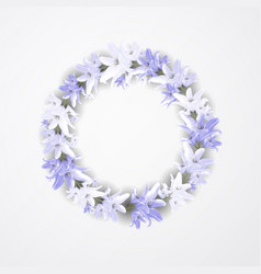 beautiful blue wreath with lilia floral design vector image
