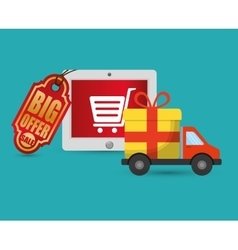 Big offer sale online truck gift delivery vector
