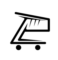 Black and white shopping cart vector